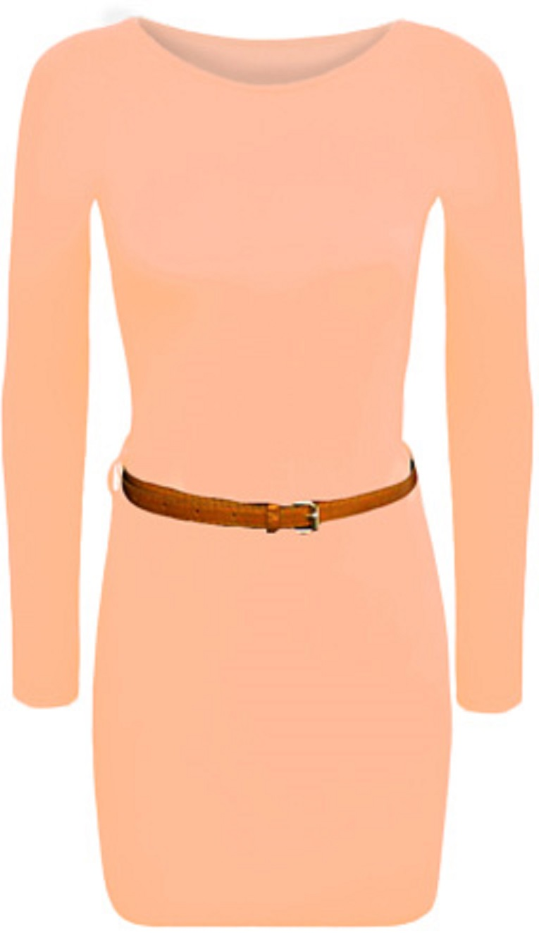 New-Ladies-Belt-Bodycon-Stretch-Short-Mini-Dress-Womens-Long-Sleeve-Top-8-14