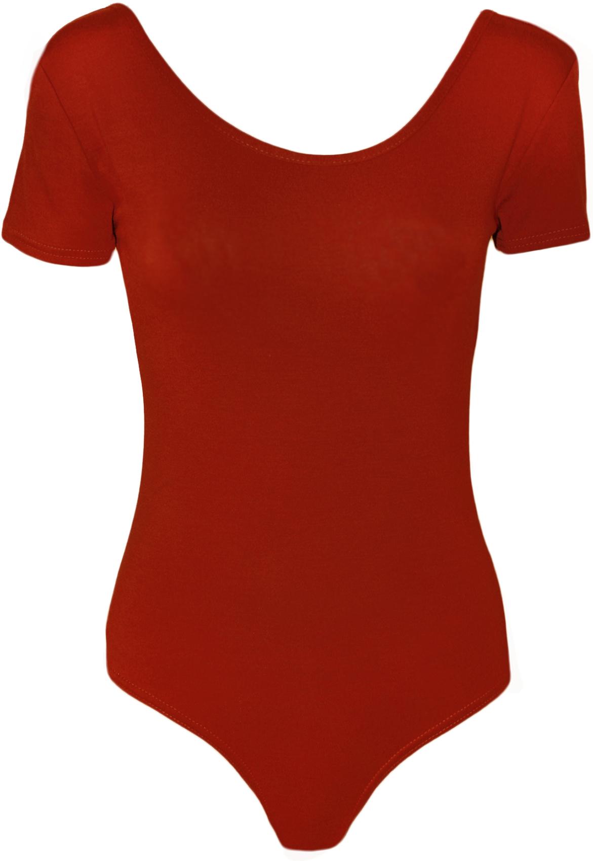 New-Womens-Short-Sleeve-Scoop-Neck-Ladies-Stretch-Bodysuit-Leotard-Top-8-14