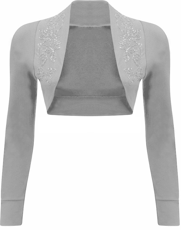 New-Womens-Beaded-Long-Sleeve-Ladies-Short-Crop-Shrug-Bolero-Cardigan-Top-8-14