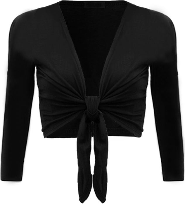 New-Womens-Tie-Up-Front-Ladies-Long-Sleeve-Plain-Cropped-Shrug-Cardigan-Top-8-14