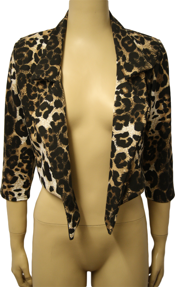 New-Ladies-Animal-Tiger-Print-Waterfall-Cropped-Jacket-Womens-Short-Top-8-14