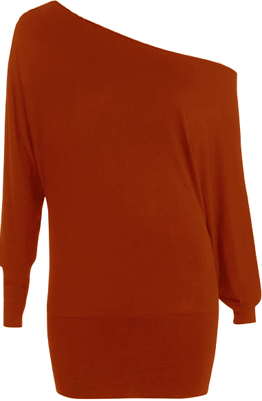 New-Womens-Off-Shoulder-Long-Sleeve-Batwing-Ladies-Plain-Stretch-Top