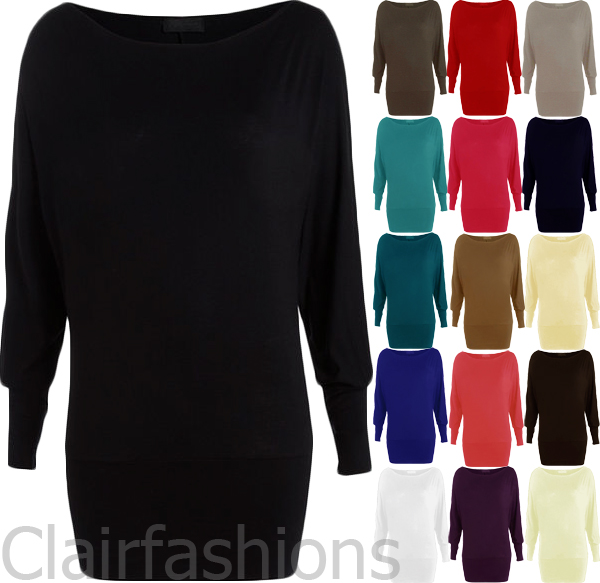 New-Womens-Batwing-Long-Sleeve-Ladies-Plain-Stretch-T-Shirt-Tunic-Top-8-14