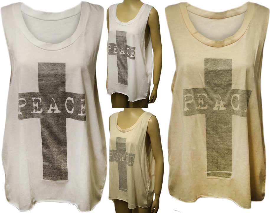 New-Womens-Peace-Cross-Print-Baggy-Open-Sleeve-Ladies-Sleeveless-Vest-Top-8-14