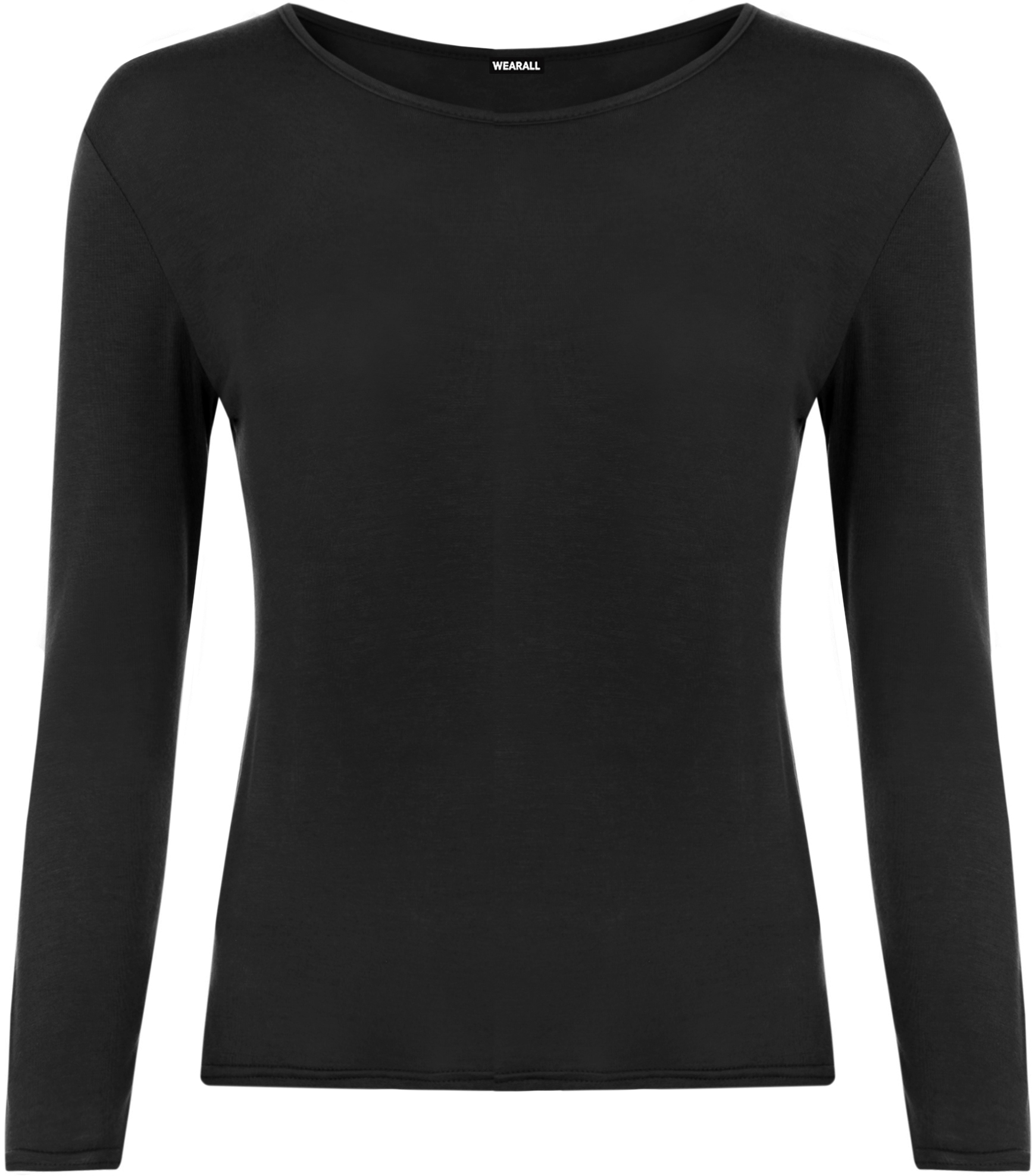 New womens long sleeve round neck plain basic ladies for Womens black tee shirt