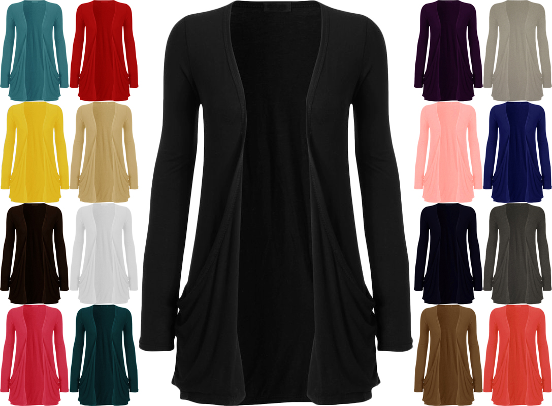 New Womens Long Sleeve Pocket Ladies Stretch Open Boyfriend ...