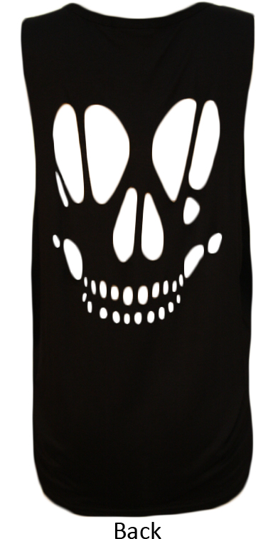 New-Womens-Skull-Cut-Out-Back-Baggy-Ladies-Sleeveless-Loose-Fit-Vest-Top-8-14