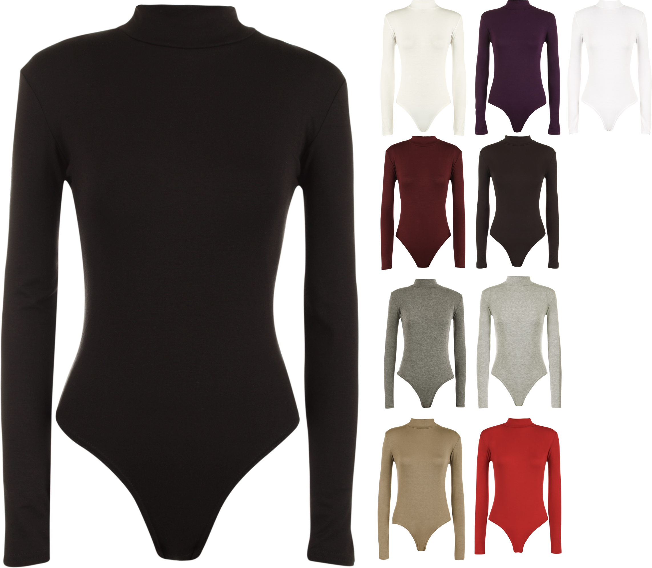 New-Womens-Turtle-Neck-Bodysuit-Ladies-Long-Sleeve-Stretch-Leotard-Top-8-14
