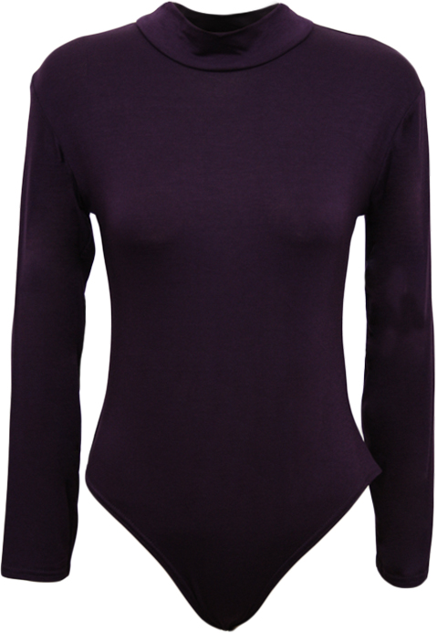 New-Womens-Turtle-Neck-Bodysuit-Ladies-Long-Sleeve-Stretch-Leotard-Top-8-14