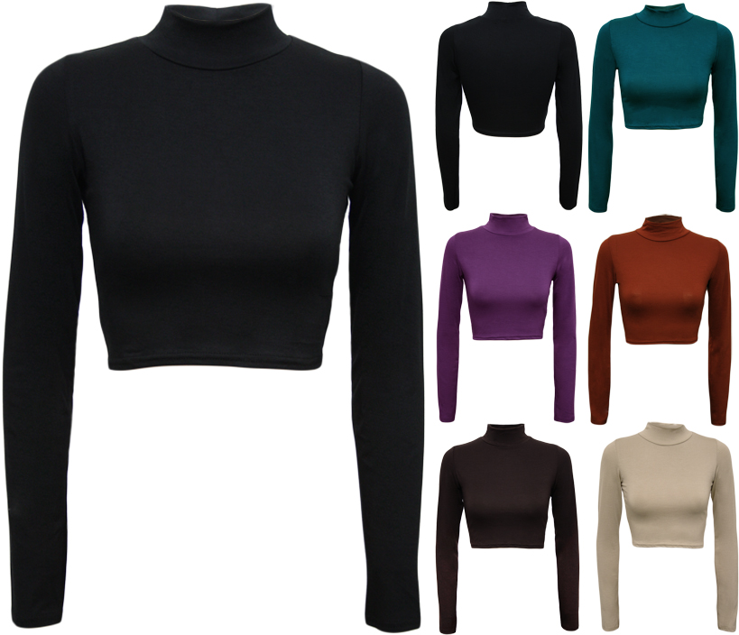 New-Womens-Turtle-Neck-Crop-Ladies-Long-Sleeve-Plain-Polo-Short-Stretch-Top-8-14