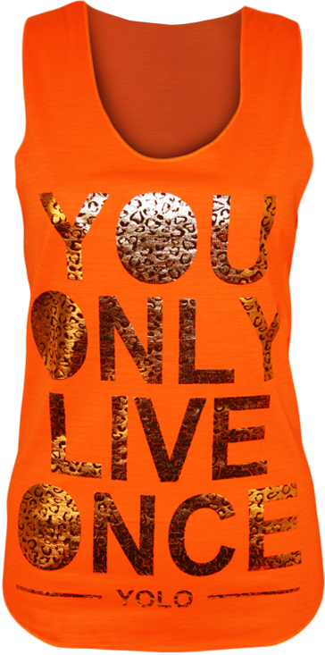 New-Womens-Yolo-Neon-Gold-Foil-Print-Ladies-Racer-Vest-You-Only-Live-Once-Top