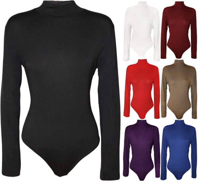 New-Plus-Size-Womens-Turtle-Neck-Bodysuit-Ladies-Long-Sleeve-Polo-Leotard-16-26
