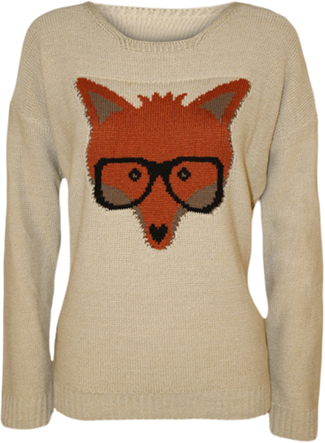 new womens fox glasses knitted jumper ladies long sleeve