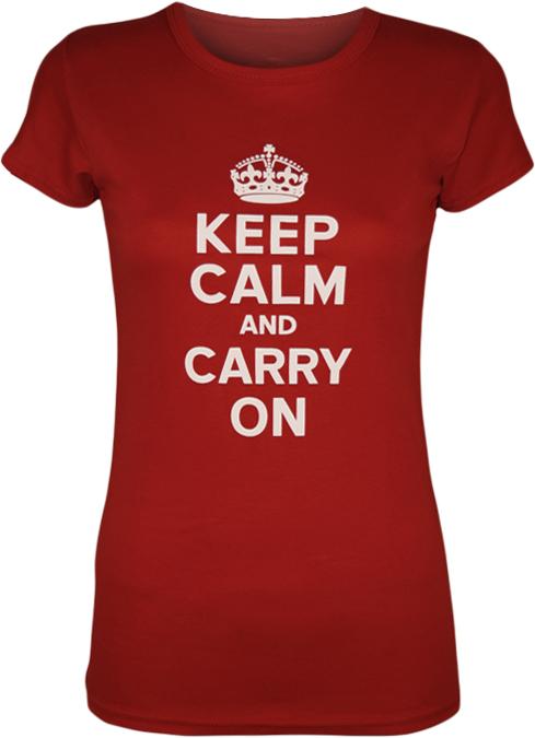 Ladies Print T-shirt Womens Stretch Short Sleeve Keep Calm ...