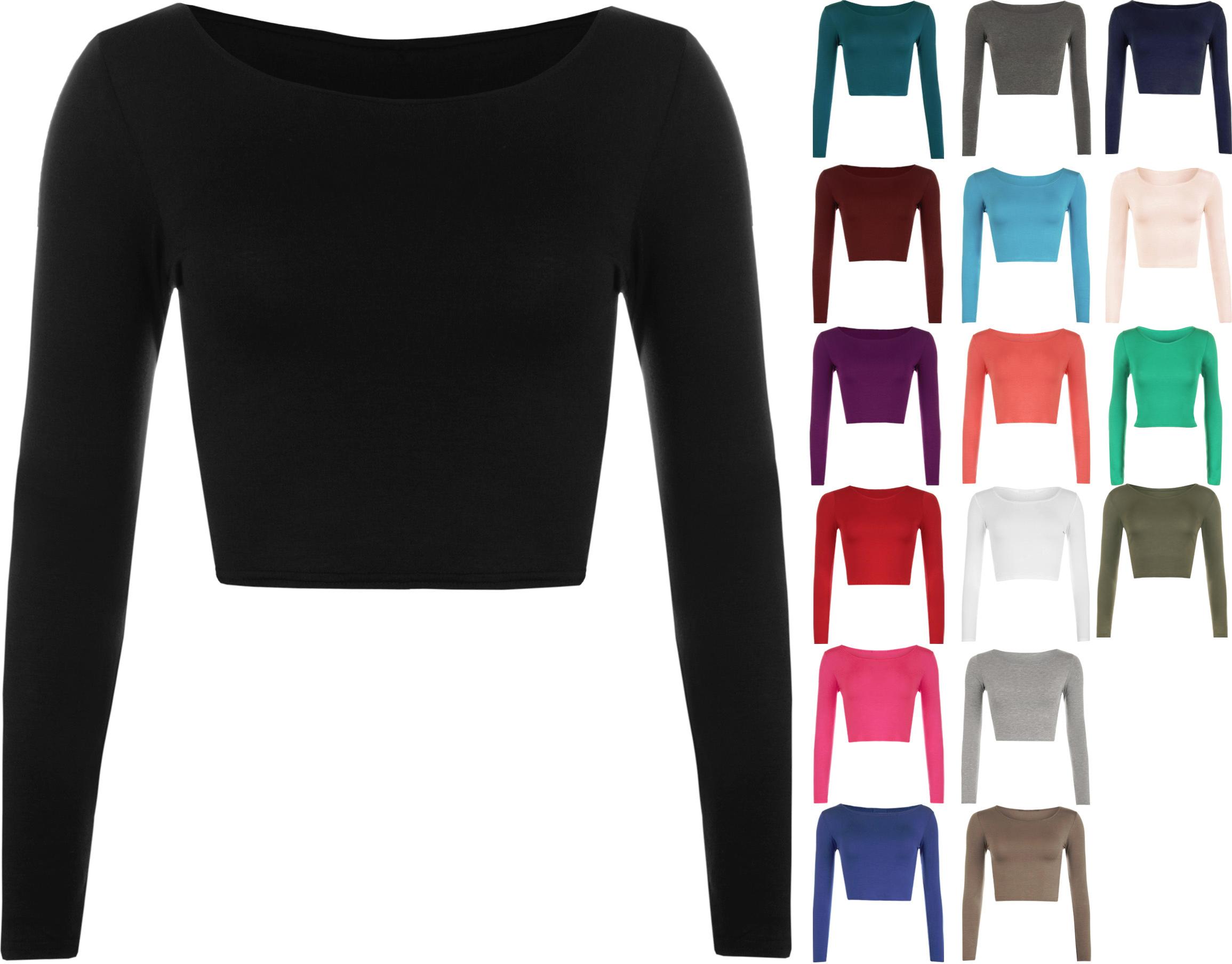 New womens crop basic long sleeve t shirt ladies short for Long sleeve womens t shirts