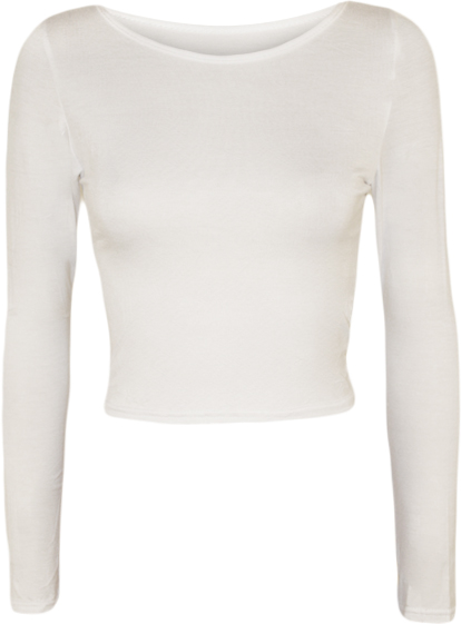 New-Womens-Crop-Long-Sleeve-T-Shirt-Ladies-Short-Plain-Round-Neck-Top-8-14