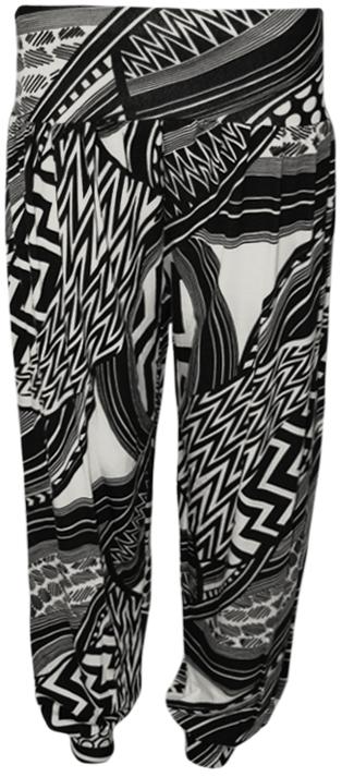 New-Womens-Black-White-Aztec-Striped-Harem-Pants-Ladies-Long-Full-Trousers