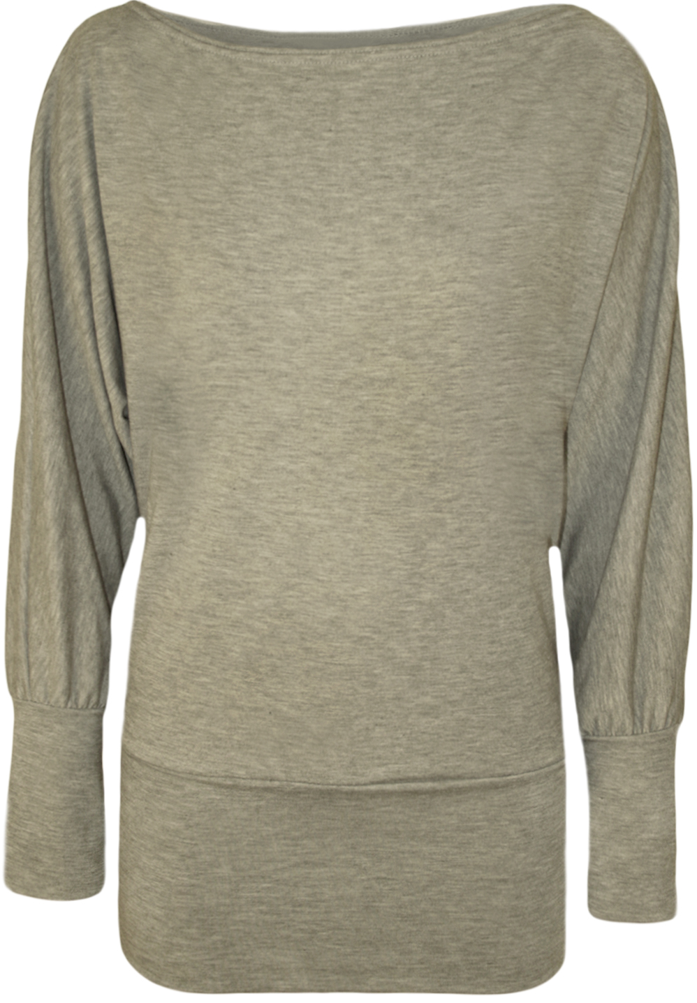 New-Ladies-Plain-Long-Sleeved-Batwing-T-Shirt-Womens-Stretch-Tunic-Top-Size-8-20