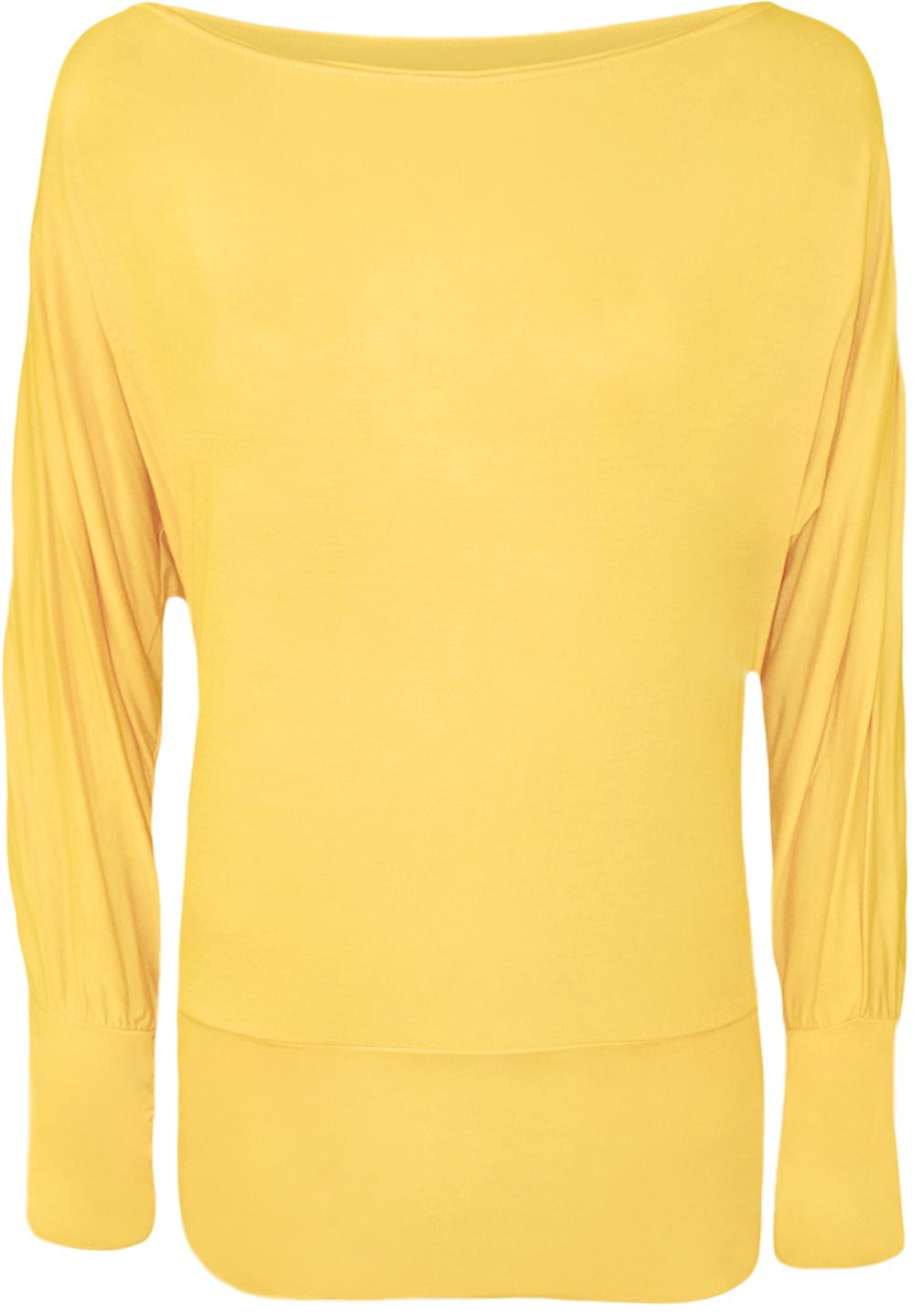 New ladies plain long sleeved batwing t shirt womens for Plain yellow long sleeve t shirt