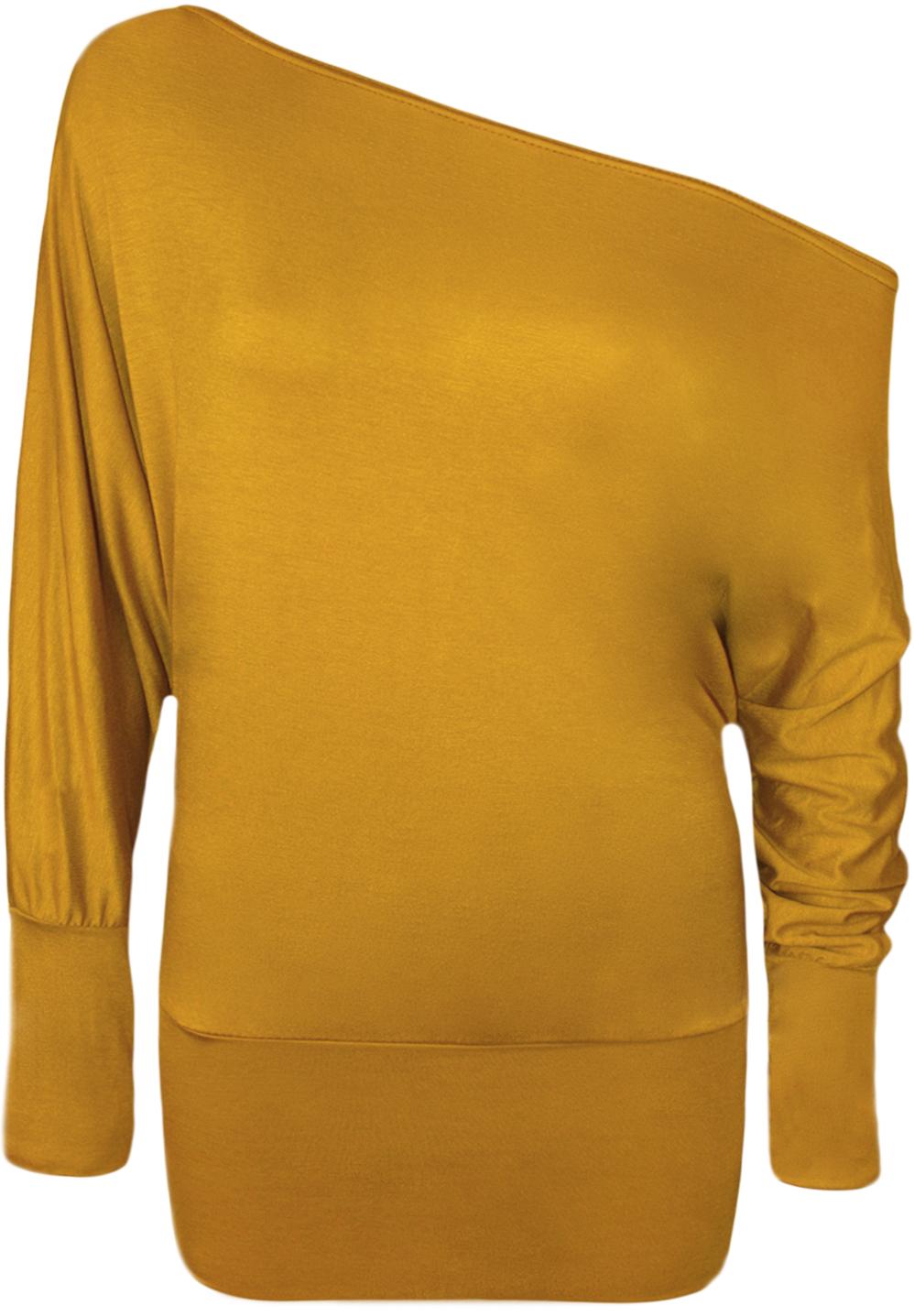 Damen-Tunika-Top-Einschultrig-Fledermaus-Langaermel-Einfarbig-T-shirt-36-48-Neu