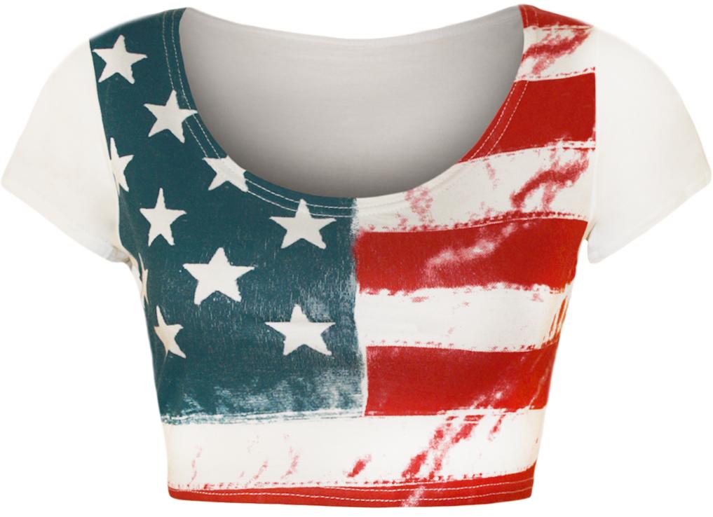 New-Womens-Stars-Stripes-American-USA-Ladies-Short-Flag-T-Shirt-Crop-Top-8-14