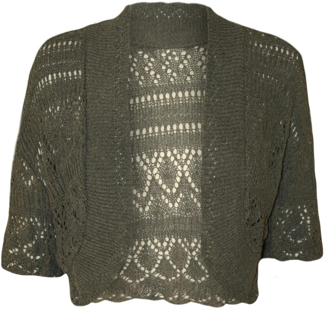 Knitting Pattern Ladies Short Sleeve Cardigan : New Womens Crochet Knitted Short Sleeve Ladies Bolero Cardigan Top Shrug 14 -...