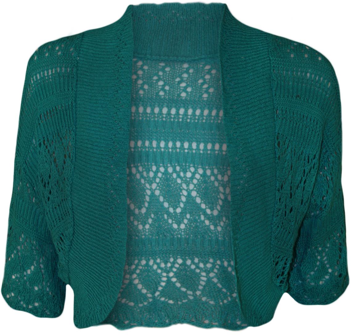 bolero femme tricot crochet manches courtes haut chale 42 46. Black Bedroom Furniture Sets. Home Design Ideas