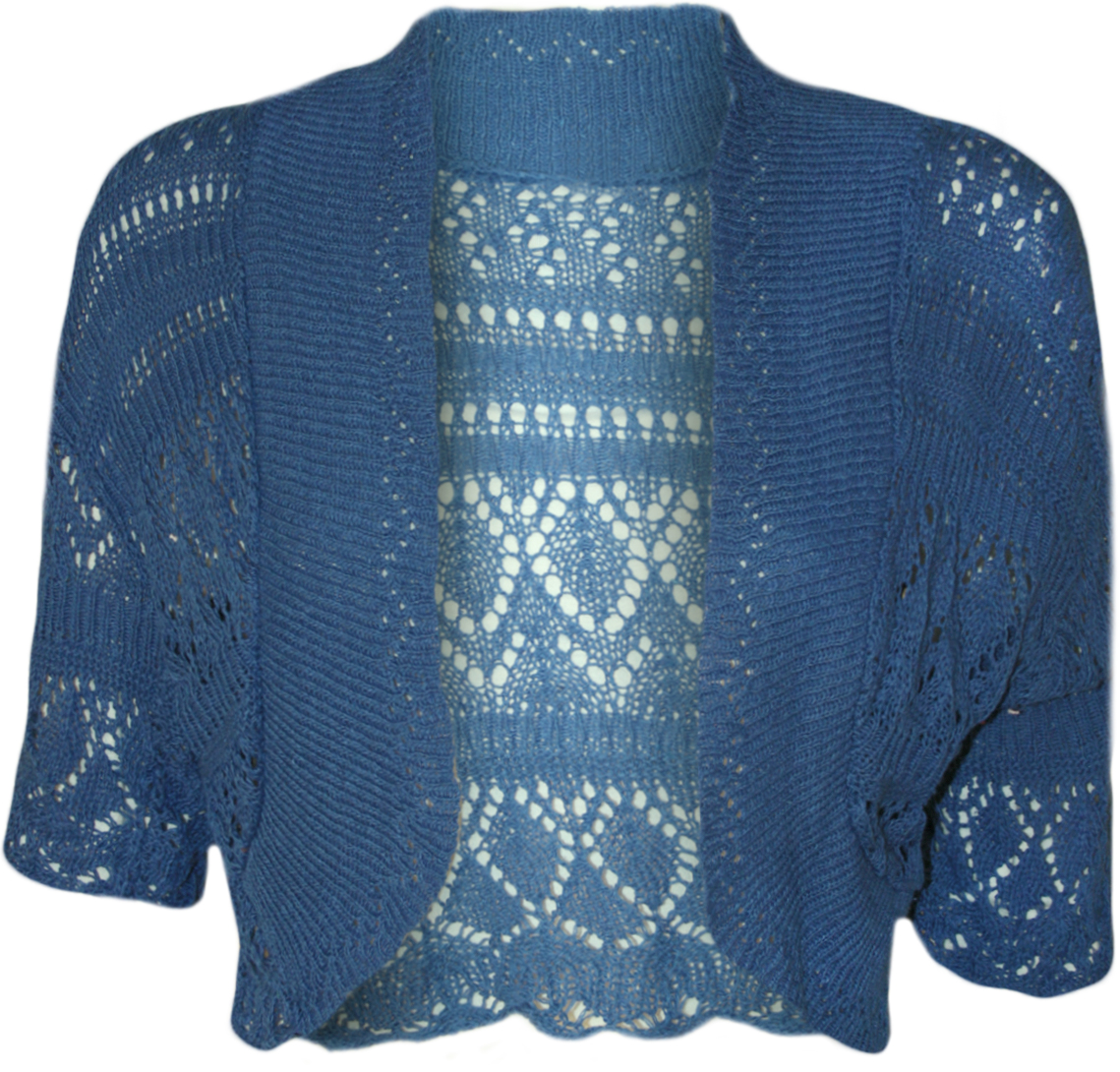 NEW Womens Crochet Knitted Short Sleeve Ladies Bolero Cardigan TOP Shrug 14 1...