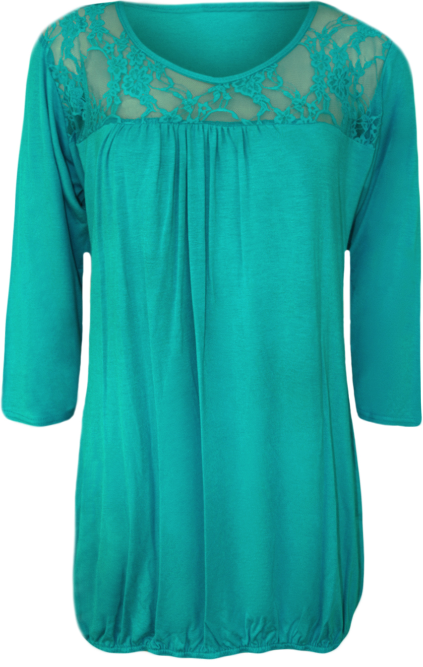 New-Ladies-Lace-Round-Neck-Evening-Top-Womens-Pleated-3-4-Sleeve-Plus-Size-12-26