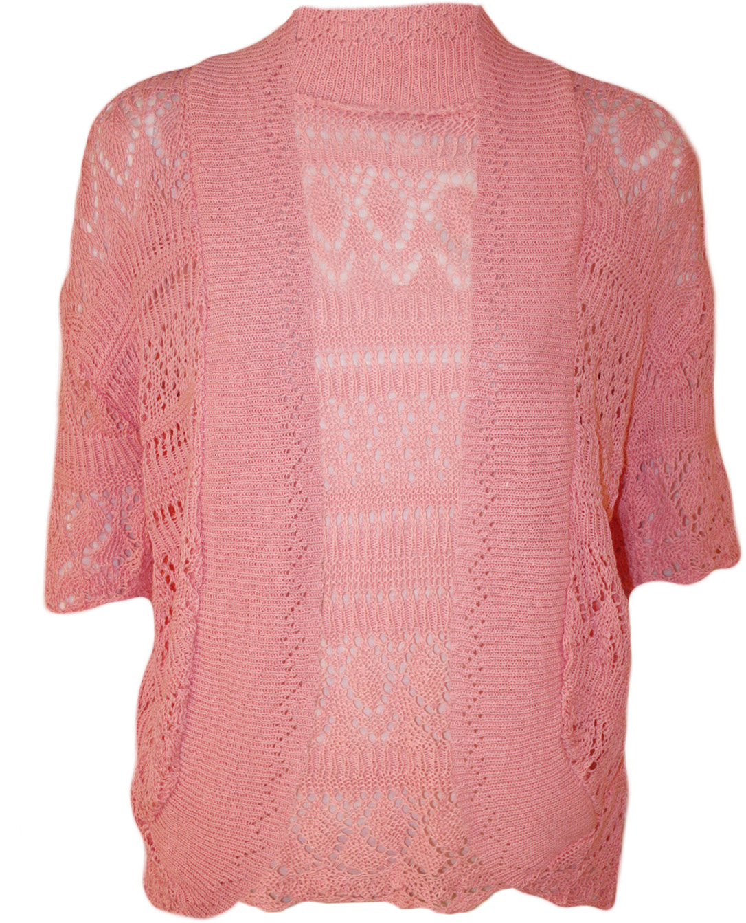 New Womens Plus Size Crochet Knitted Short Sleeve Ladies Open Cardigan Top 16...