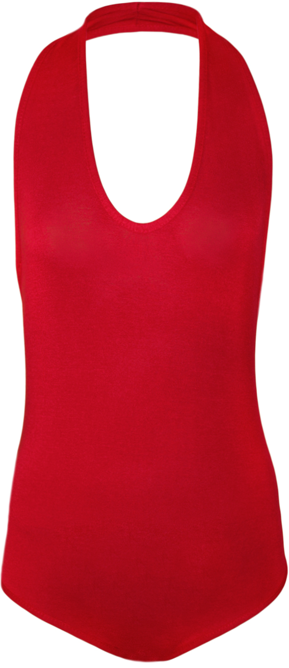 New-Womens-Plain-Halter-Neck-Sleeveless-Ladies-Stretch-Leotard-Top-Bodysuit-8-14