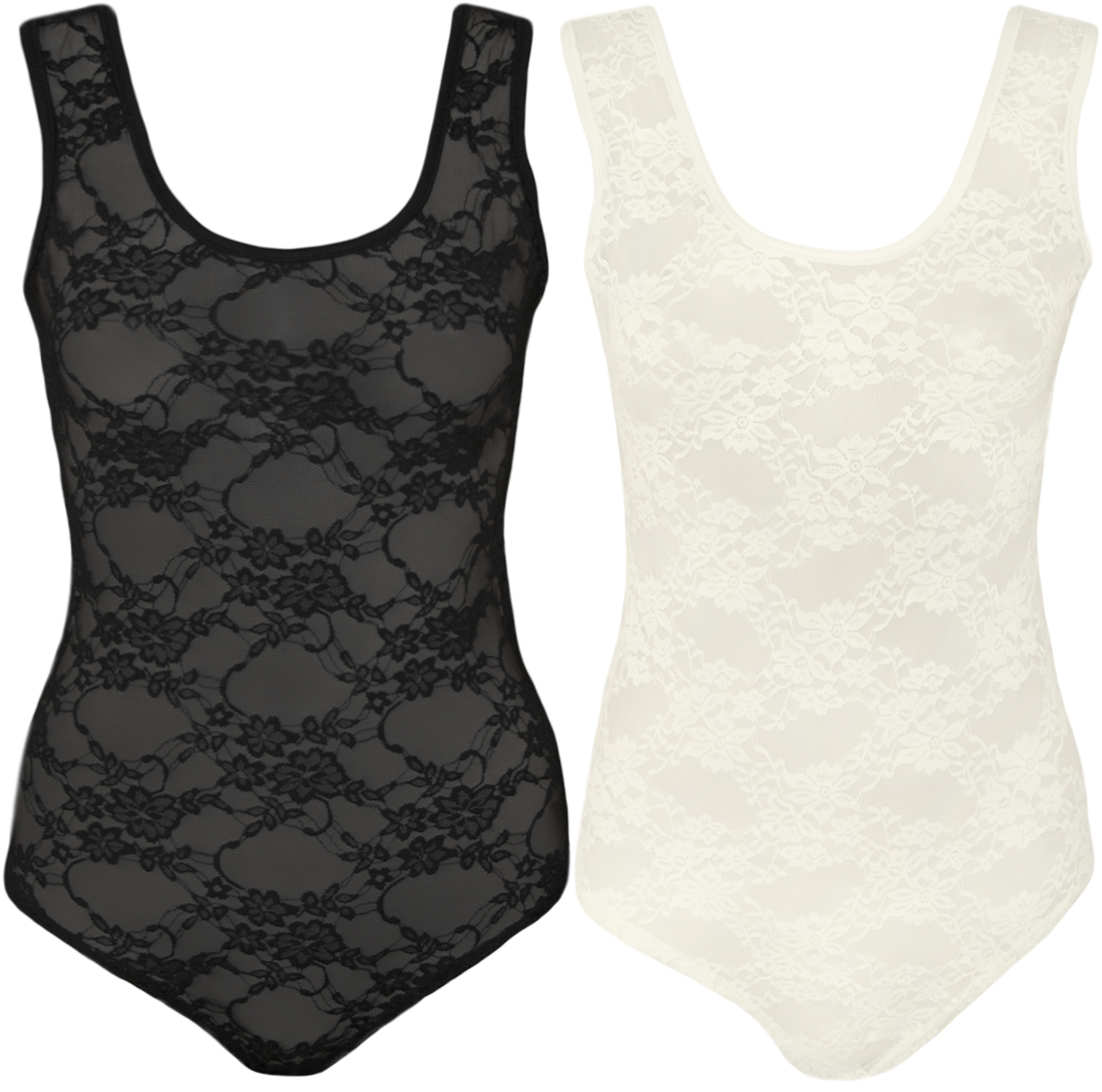 New-Womens-Floral-Lace-Scoop-Stretch-Sleeveless-Ladies-Leotard-Top-Bodysuit-8-14
