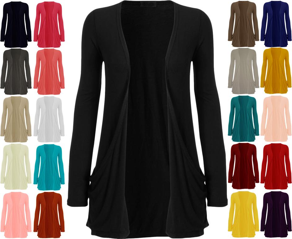 Strickjacke-Cardigan-Damen-Einfarbig-Taschen-Langaermlig-Offen-Oberteil-Neu