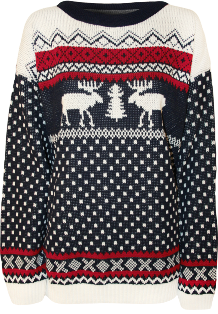 New Womens Reindeer Print Pattern Knitted Ladies Christmas Sweater Jumper 10-...