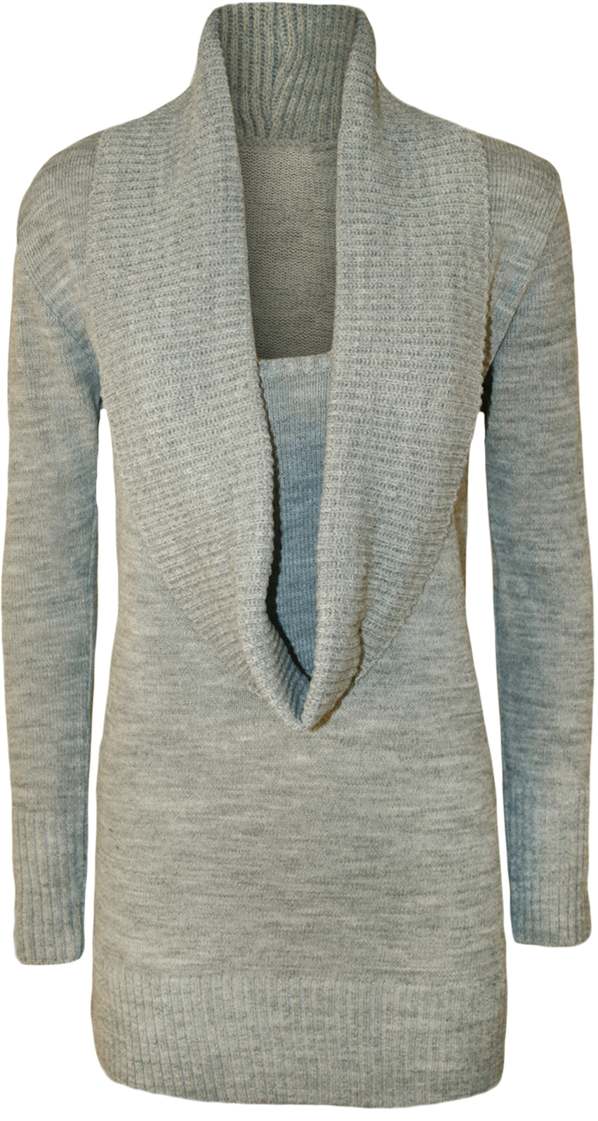 New Womens Plain Cowl Neck Long Sleeve Insert Ladies Knitted Top Jumper 8 - 1...