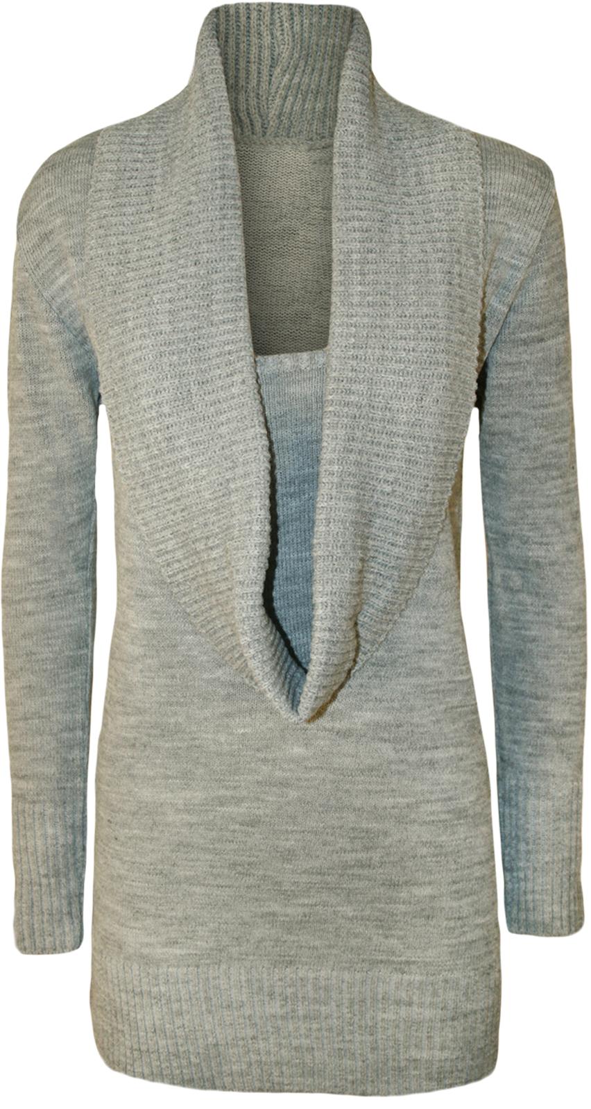 Knitting Pattern Plain Jumper : New Womens Plain Cowl Neck Long Sleeve Insert Ladies Knitted Top Jumper 8 - 1...