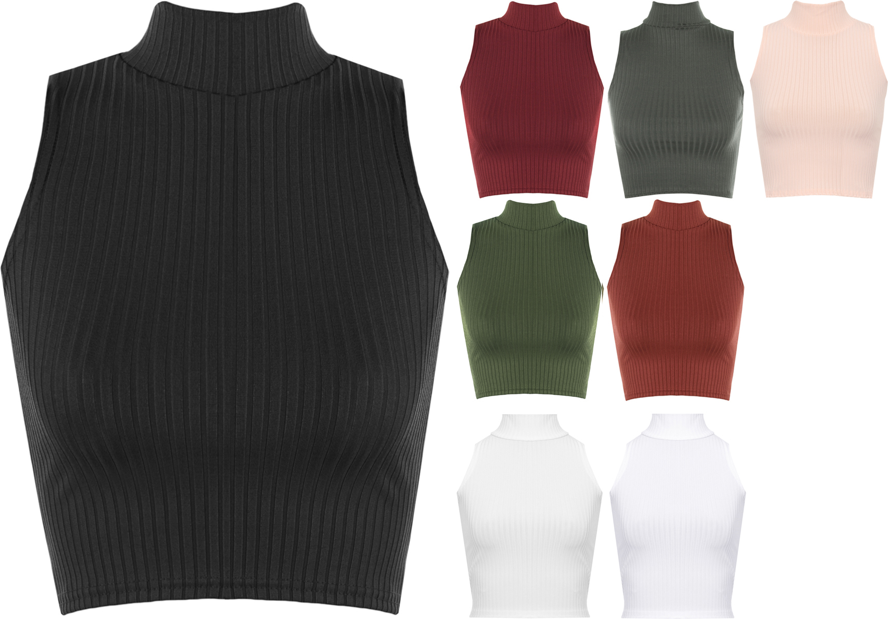 New Womens Ribbed Knitted Sleeveless Short Turtle Neck ...