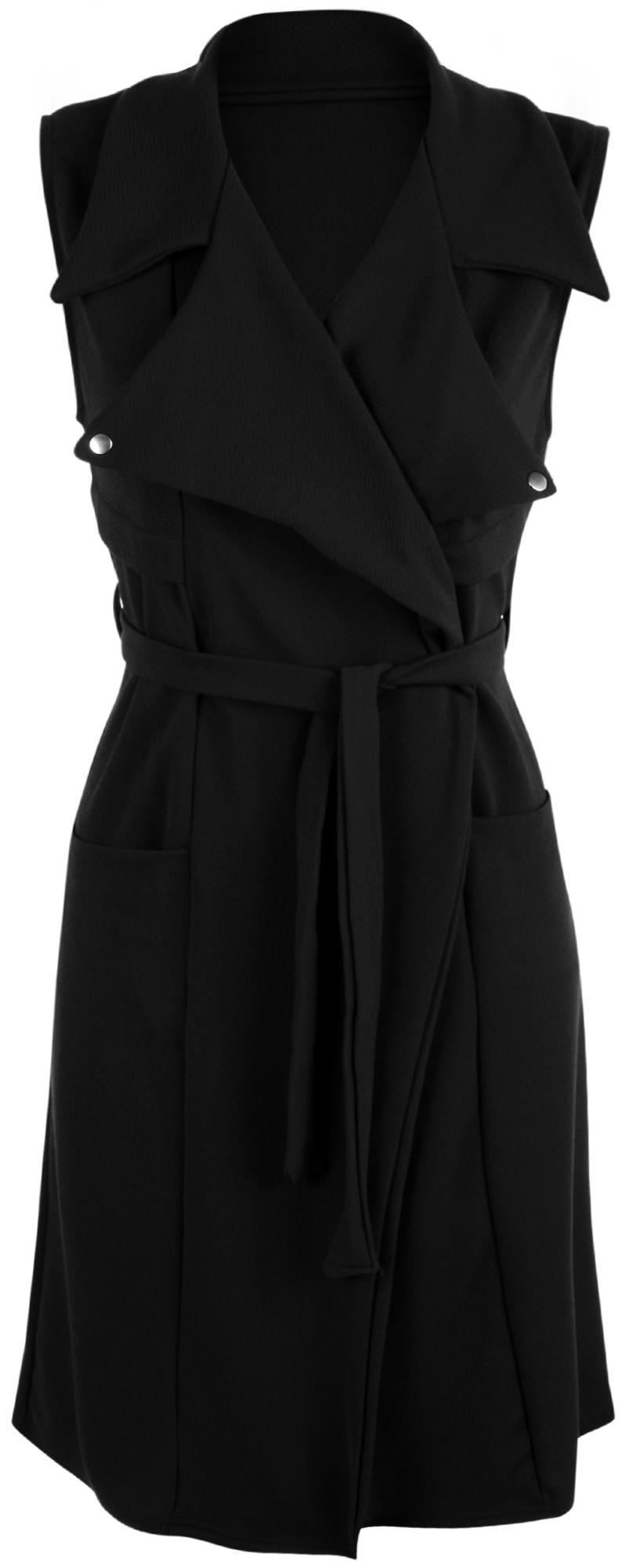 neu damen rmellos ge ffnet g rtel lang mantel jacke top. Black Bedroom Furniture Sets. Home Design Ideas
