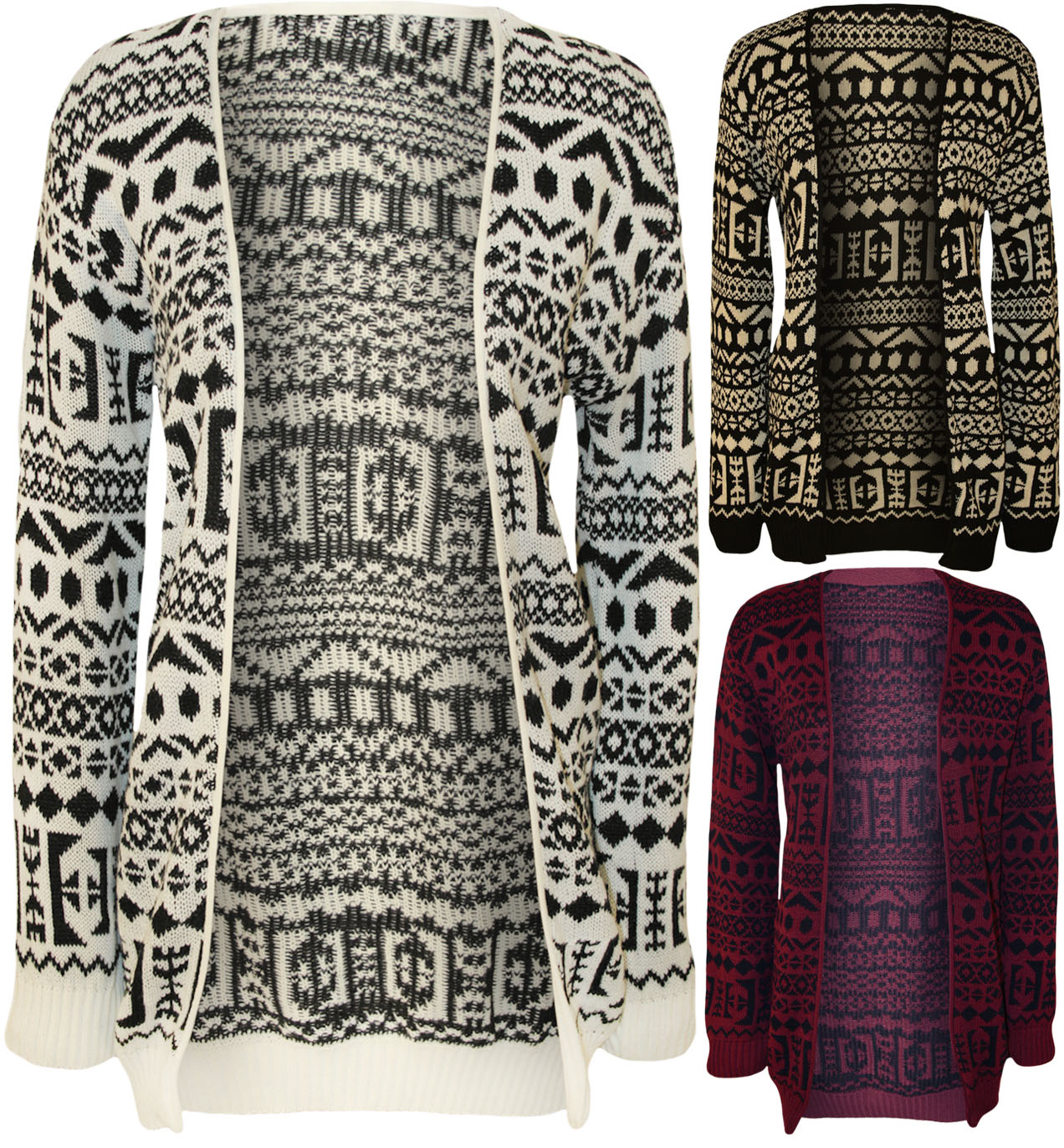 New Womens Aztec Print Pattern Long Sleeve Open Top Ladies Knitted Cardigan 8...