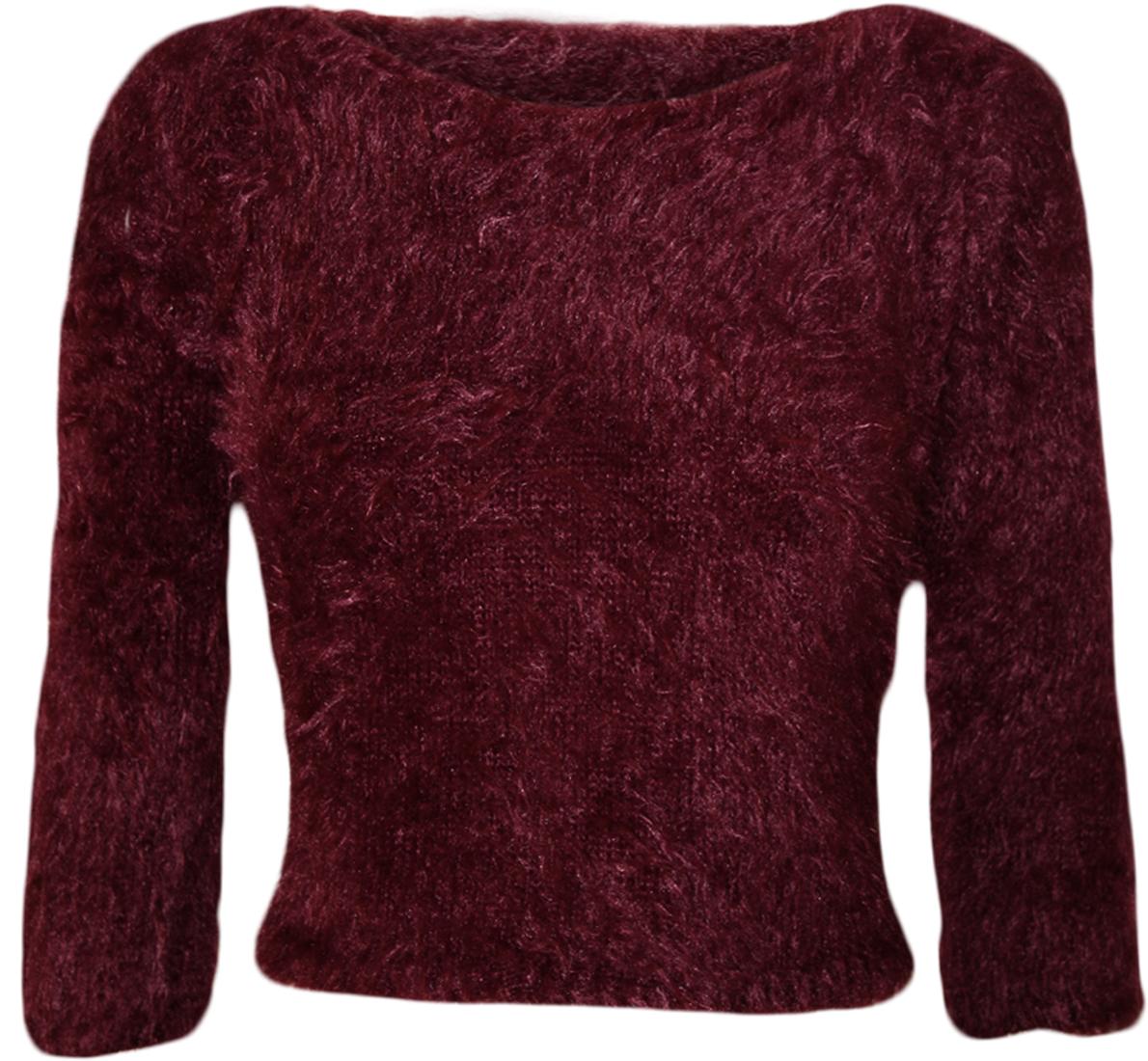 New Women Plain Fluffy Mohair 3/4 Sleeve Jumper Short Crop Top Size 8-14