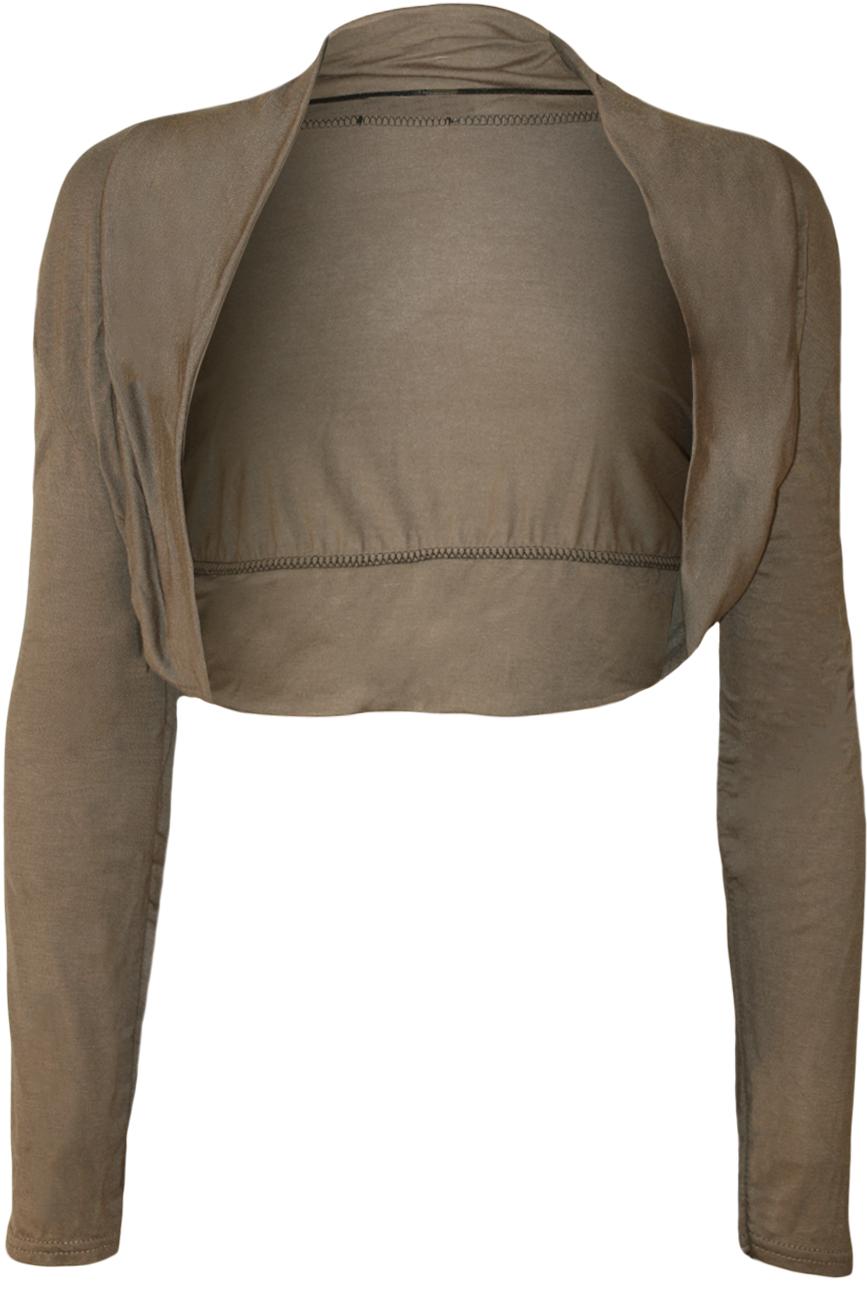New-Womens-Plus-Size-Plain-Long-Sleeve-Cropped-Ladies-Shrug-Bolero-Cardigan-Top