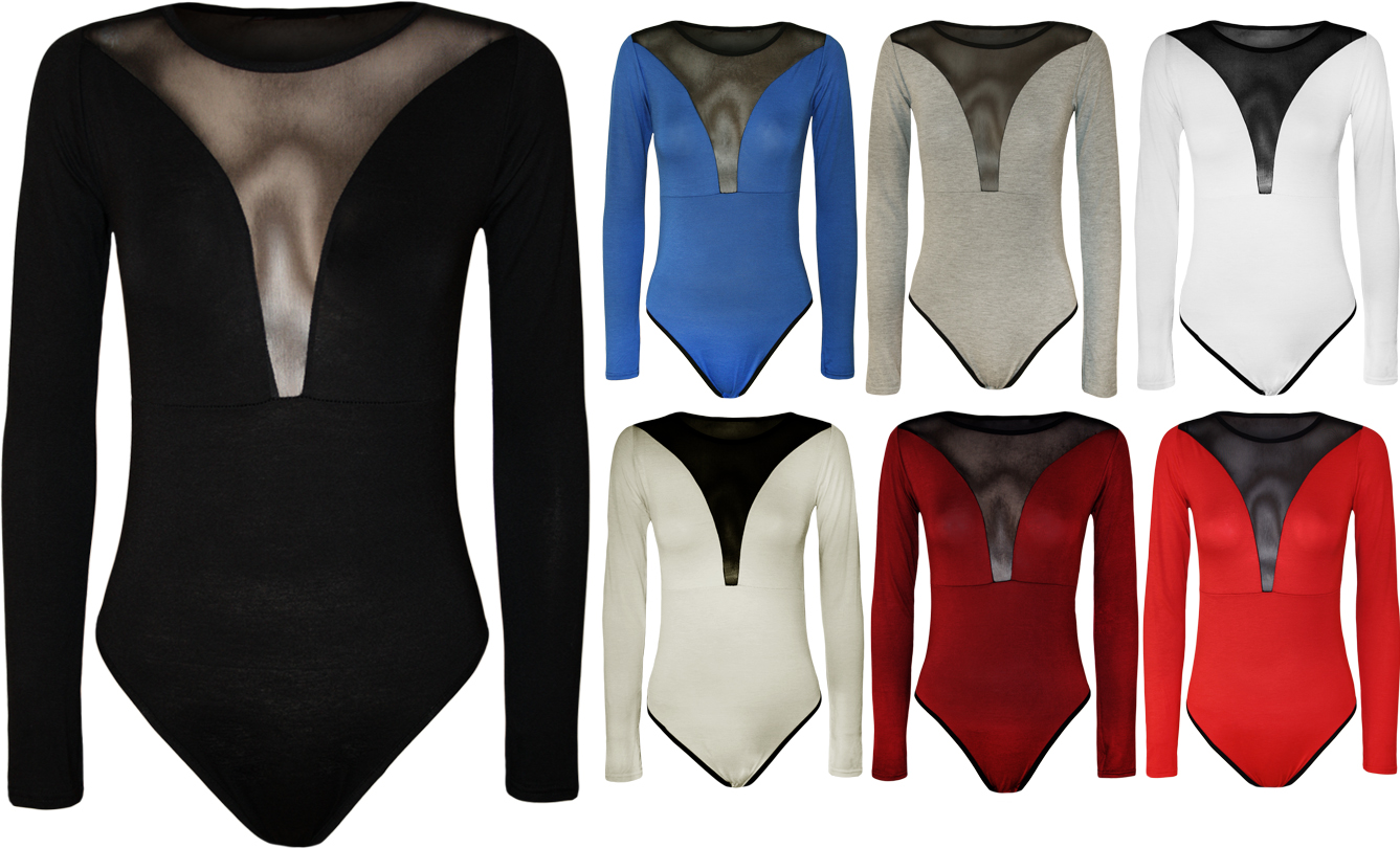 New-Womens-Plain-Mesh-Panel-Back-Top-Ladies-Stretch-Long-Sleeve-Bodysuit-8-14