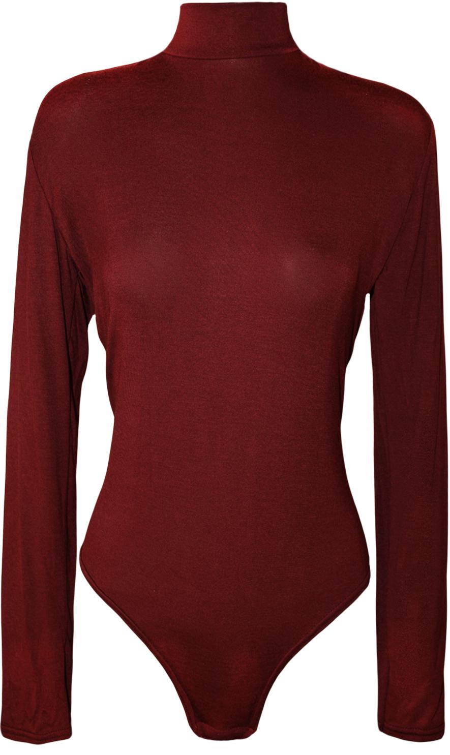 New-Plus-Size-Womens-Turtle-Neck-Bodysuit-Ladies-Long-Sleeve-Polo-Leotard-16-26