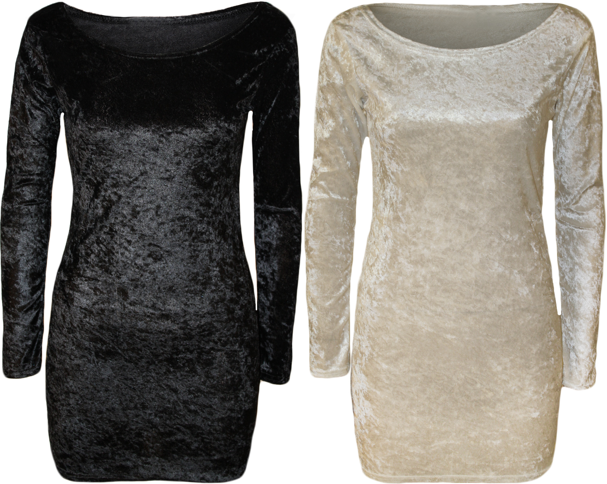 New-Womens-Velour-Velvet-Stretch-Bodycon-Ladies-Long-Sleeved-Mini-Dress-Top-8-14