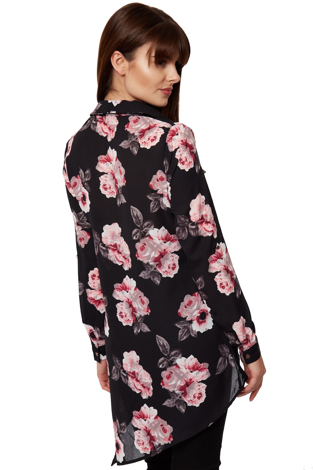 New womens asymetric collar button up sheer floral black for Floral print button up shirt