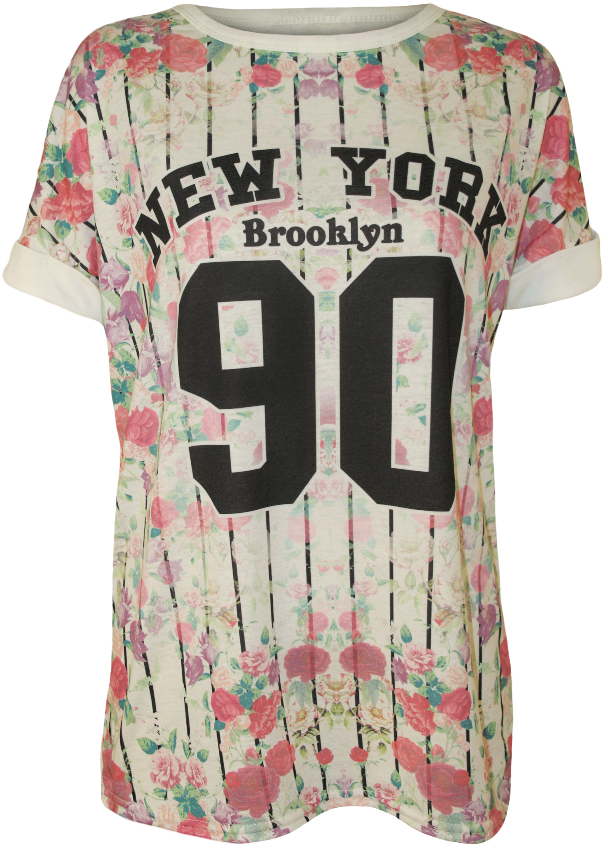 damen t shirt blumen 39 new york 39 aufdruck kurz rmelig baseball t shirt top 36 42 ebay. Black Bedroom Furniture Sets. Home Design Ideas