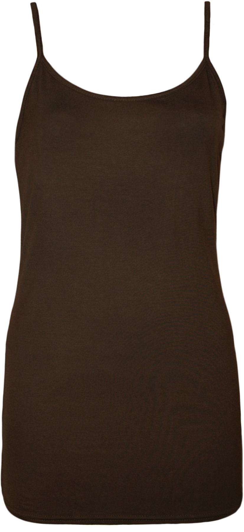 New-Womens-Strappy-Sleeveless-Ladies-Plain-Stretch-Cami-Vest-Top-8-14