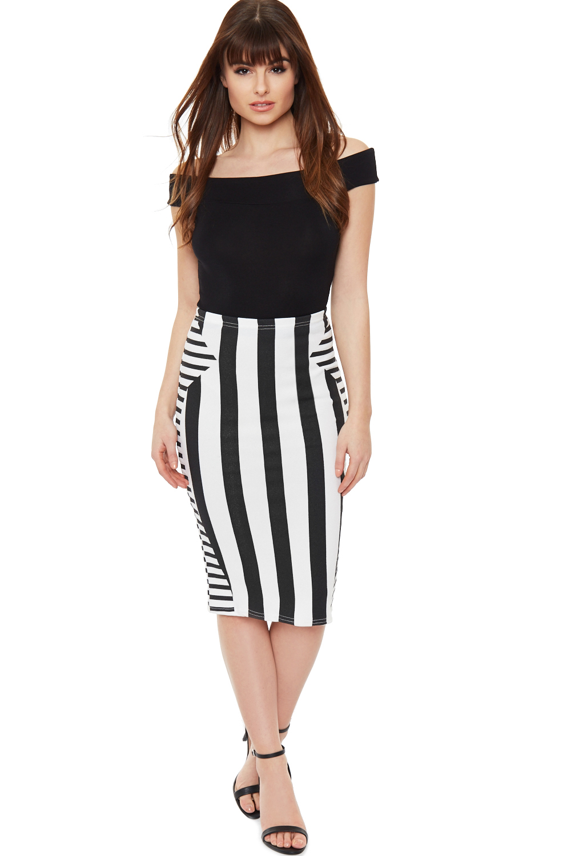 new womens stretch bodycon striped black white crepe midi