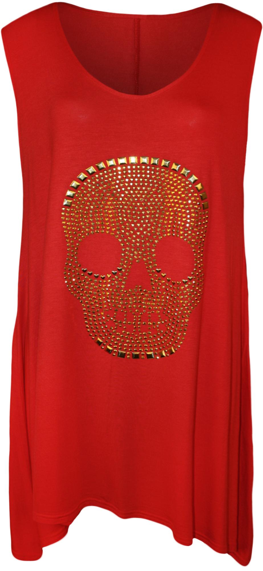 tank top t shirt totenkopf damen lang damen rmellos 42 56 neu ebay. Black Bedroom Furniture Sets. Home Design Ideas
