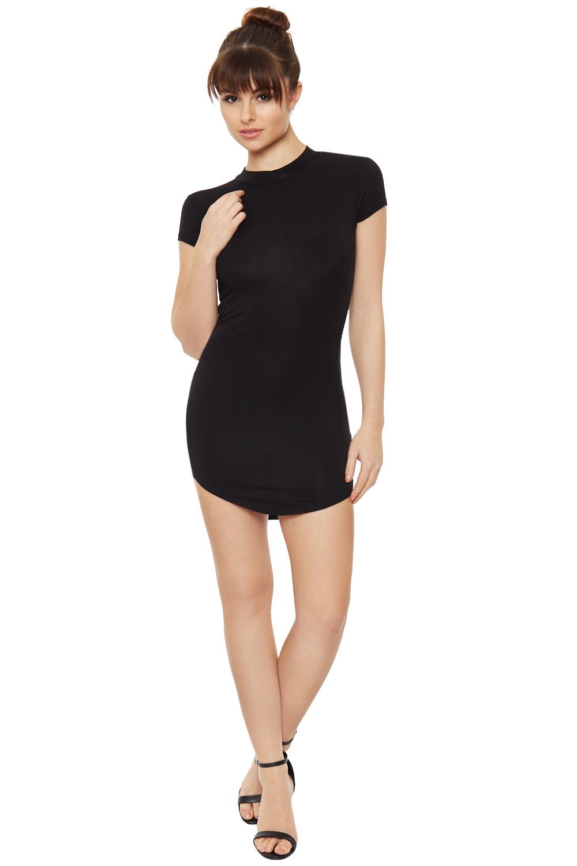 Black t shirt dress ebay - New Womens Turtle Polo Neck Cap Sleeve Curved Hem Hi Lo Top Ladies T Shirt Dress